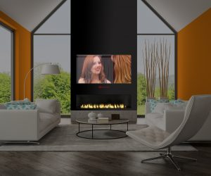 Interior of living room with orange wall and fireplace 3D rendering